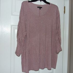 Lane Bryant Pink Sparkle Top Ruched Sleeves 22/24